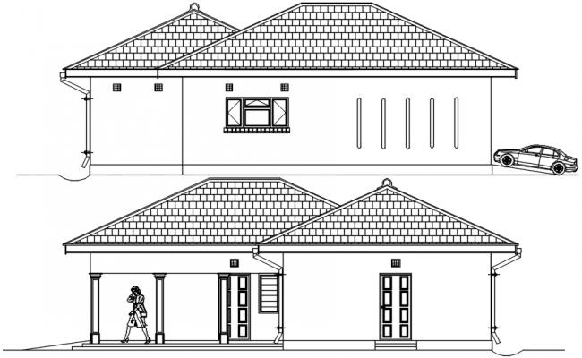 Sectional elevation of bungalow in autocad