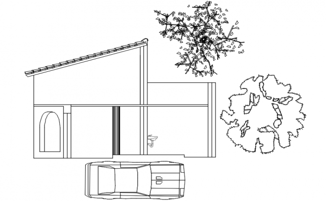 Sectional elevation of bunglow