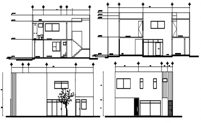 Sectional elevation of bunglow in autocad