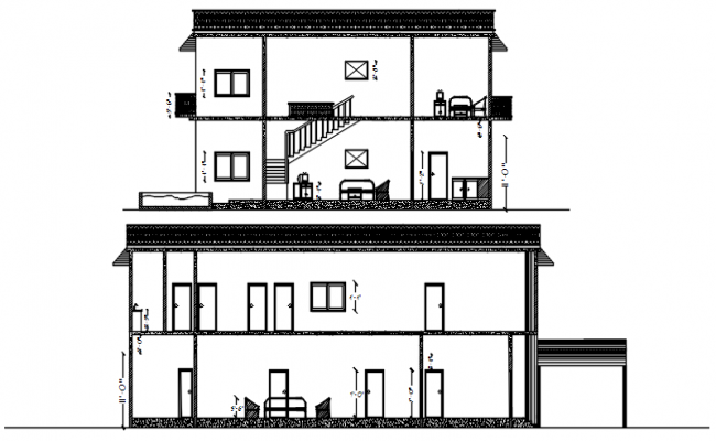 Sectional elevation of house in autocad
