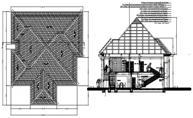 Sectional elevation of residential house