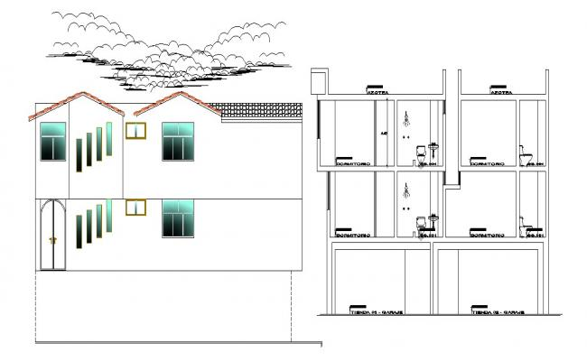 House Section Plan In AutoCAD File
