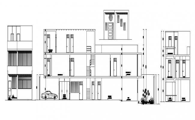 Sectional elevations of bungalow in dwg file