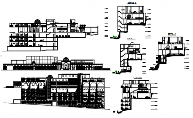 Sectional elevations of hotel in dwg file