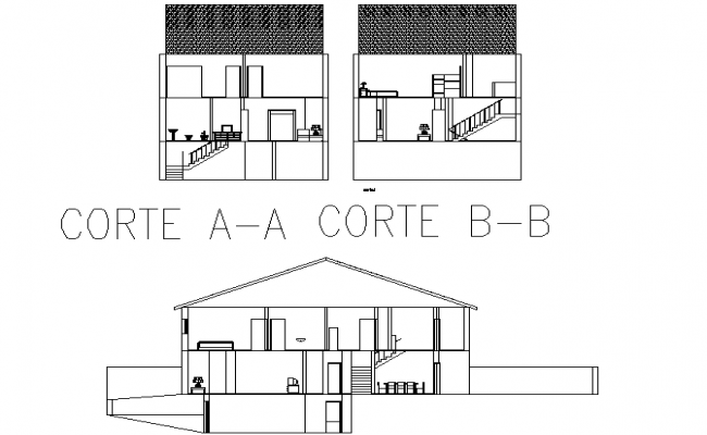Sectional front elevation details