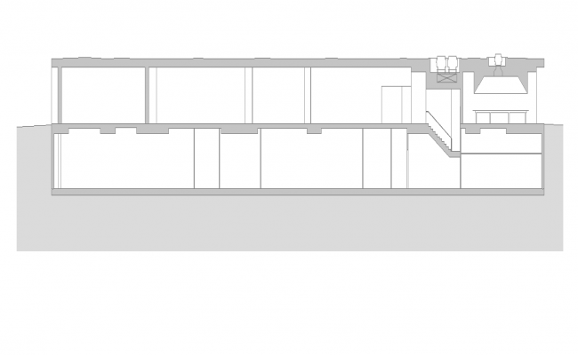 Sectional layout of a building structure 2d view layout file