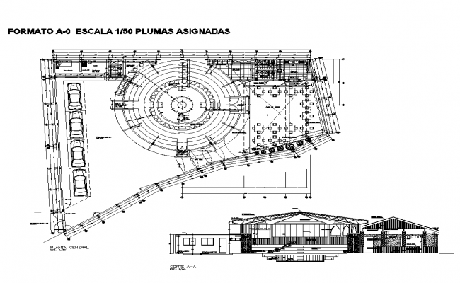 Sectional plan of commercial building detail 2d view layout dwg file