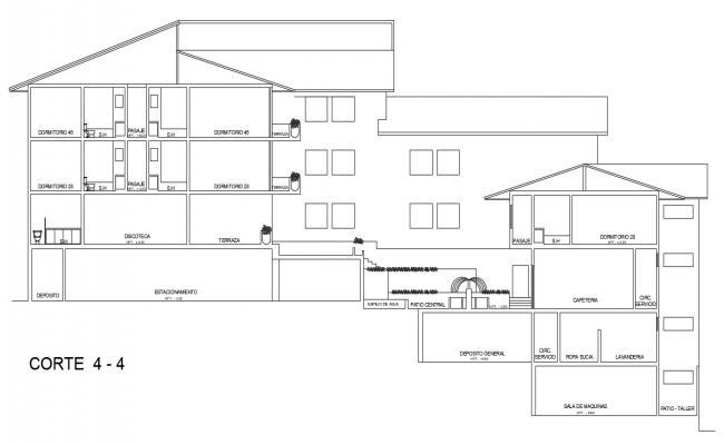 Hotel building cad design Sectional plan