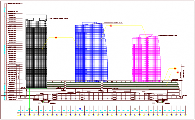 Sectional view of corporate building dwg file
