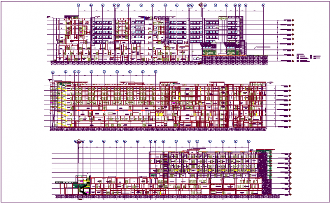 Sectional view of hospital design view with material view with legend dwg file