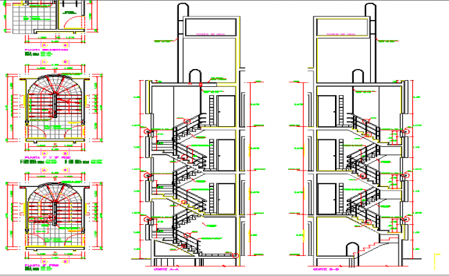 Sectional view of main & indoor staircase of residential apartment building dwg file