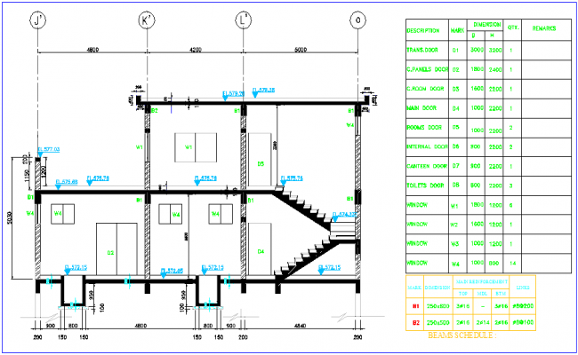 Sectional view of motor control center with view and schedule of door,window and beam view dwg file