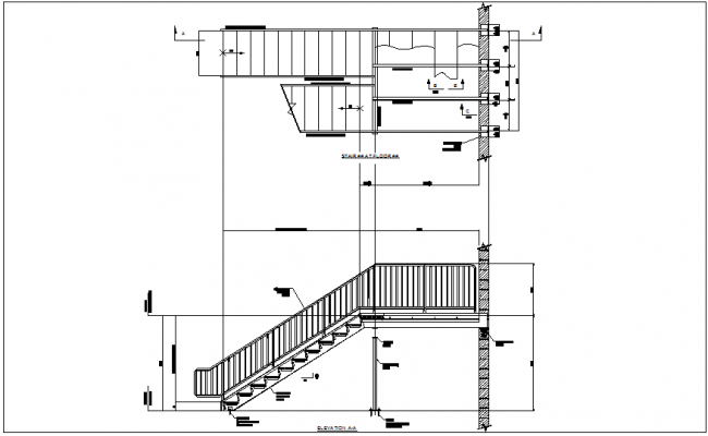 Sectional view of stair case construction view dwg file
