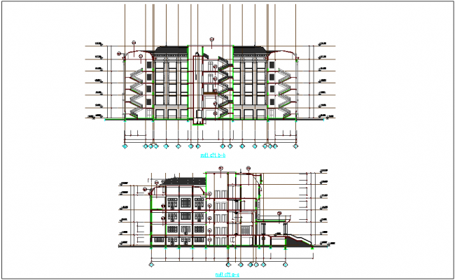 Sectional view with different axis of high rise building dwg file
