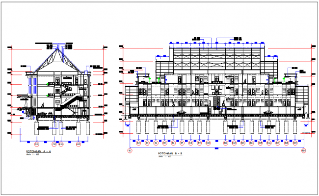 Sectional view with different axis with detail of dprd government building dwg file