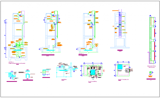 Sectional view with sanitary installation of classroom dwg file