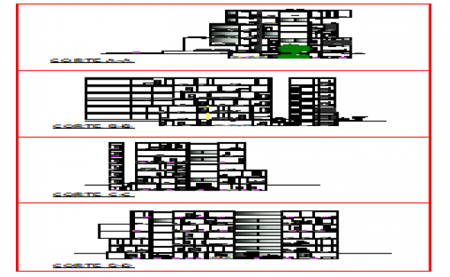Sections design drawing of corporate building design drawing