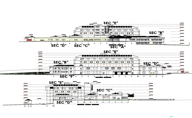Sections of a general hospital plan elevation detail dwg file.