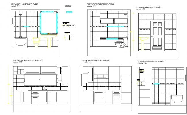 Sections of bathrooms and kitchen plan detail dwg file.