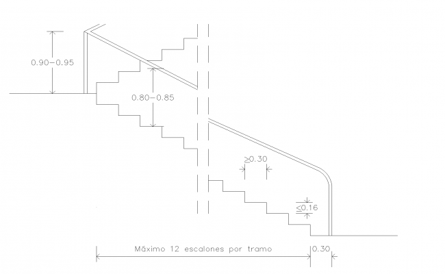 Sections of disabilities stairway plan detail dwg file.