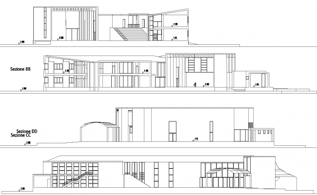 Sections of gamer middle school plan detail dwg file.
