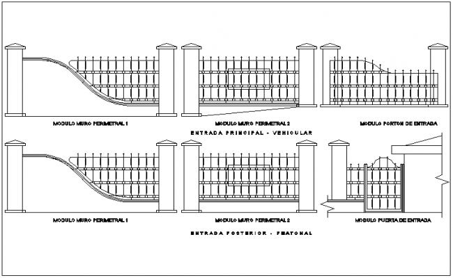 Sections of perimeter fence with wall design dwg file