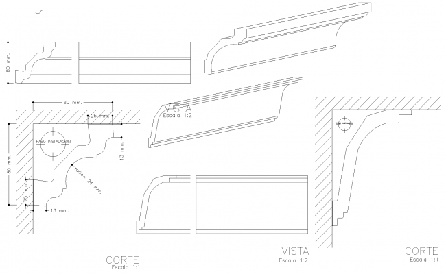 Sections of plaster mouldings plan detail dwg.