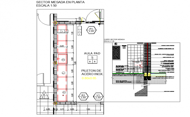 Sector floor counter plan detail dwg file