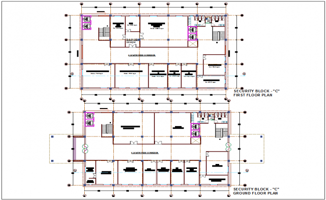 Security block C administration building ground and second floor plan with architectural view dwg file