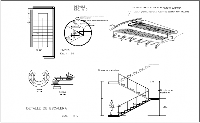 Semi Spiral Stair Section And Elevation View Dwg Files