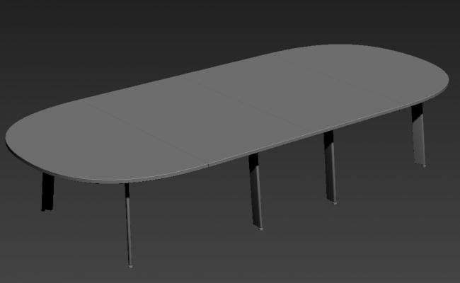 Semi-Circle Top Dining Table With SS Simple Designed Legs 3D MAX File