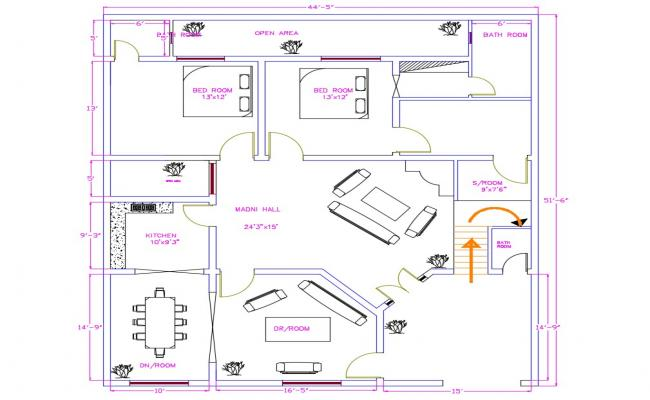 Semi-Furnished House Cad Plan