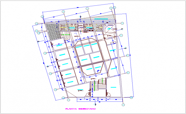Semi ground floor plan for commercial building with architectural view dwg file