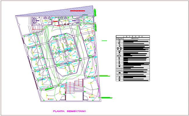 Semi ground plan of electrical installation for commercial building dwg file