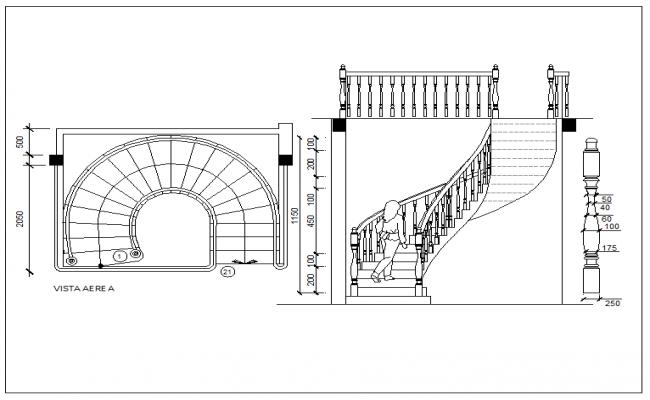 Semi-spiral type stairway detail view dwg file
