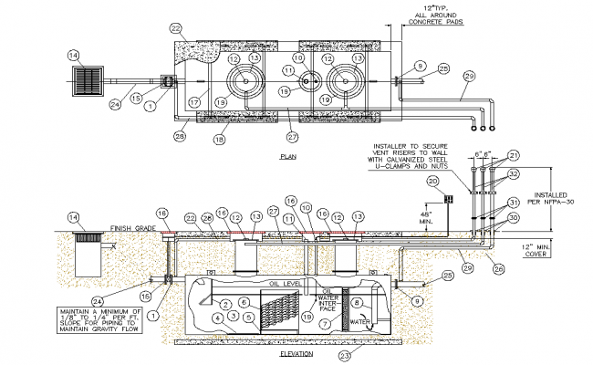 Separate or tank detail dwg file