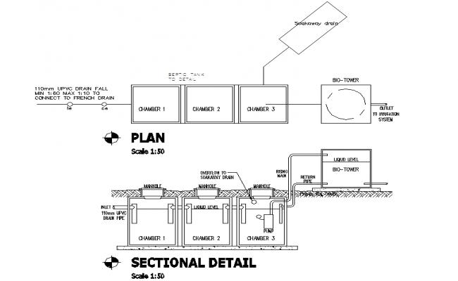 Septic Tank Plan & Section design