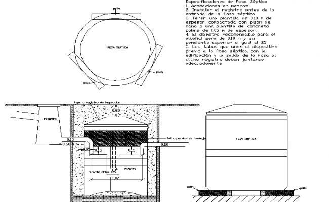 Septic grave plan and elevation detail dwg file