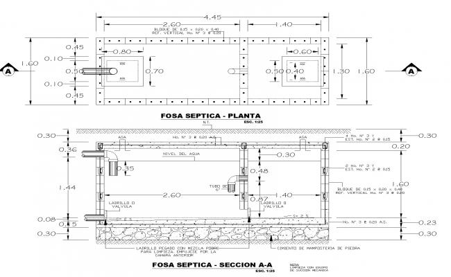 Septic grave plan and section autoacd file
