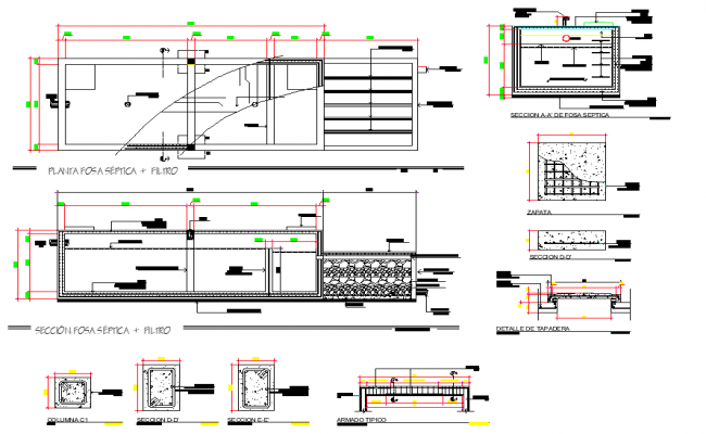 Septic tank and column plan layout file