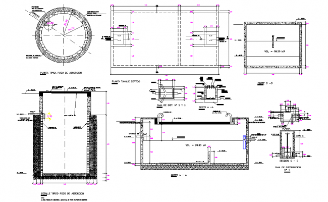 Septic tank and percolation well dwg file