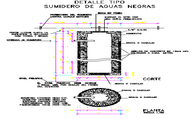 Septic tank black water shade constructive details dwg file