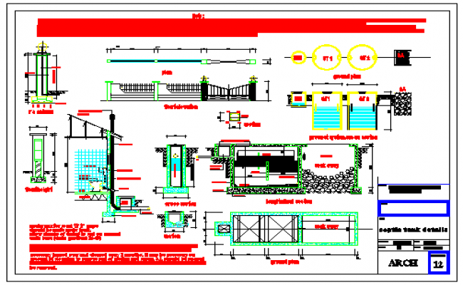 Septic tank detail drawing of residential building design drawing
