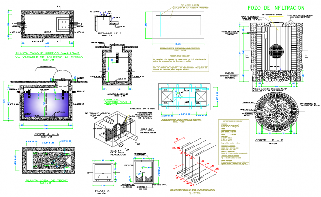 Septic tank plan and section layout file