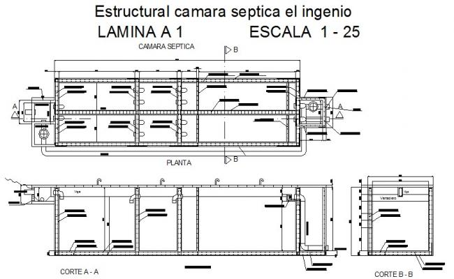 Septic tank section, plan and structural cad drawing details dwg file