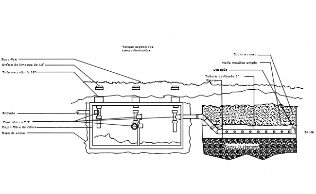 Septic tank section detail dwg file