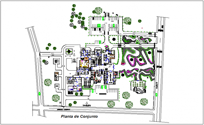 Set plan of cardiology hospital project dwg file
