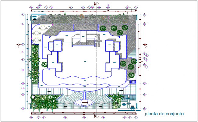 Set plan of exclusive shopping center and office dwg file