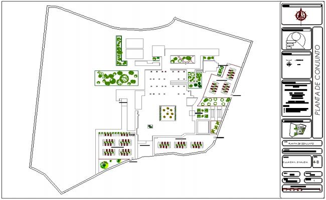 Set plan of geriatric hospital dwg file