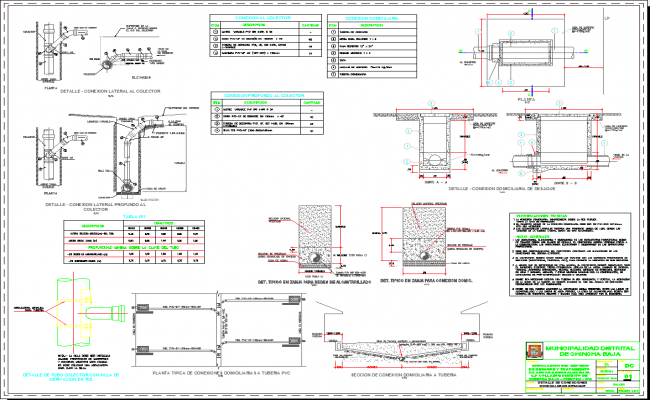 Sewer connection detail in autocad dwg files